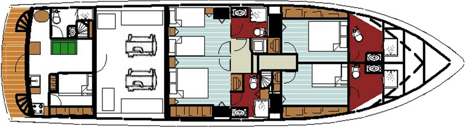 Ruby Expedition 80 House Forward Lower Deck - 4 Staterooms